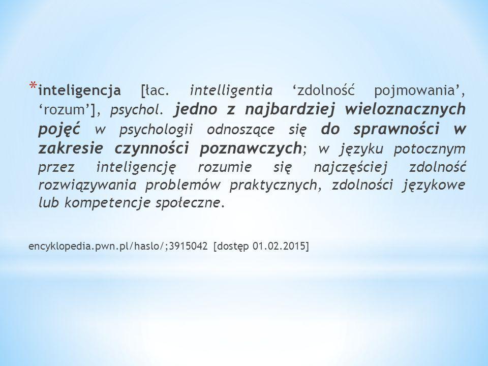 inteligencja [łac. intelligentia 'zdolność pojmowania', 'rozum'], psychol. jedno z najbardziej wieloznacznych pojęć w psychologii odnoszące się do sprawności w zakresie czynności poznawczych; w języku potocznym przez inteligencję rozumie się najczęściej zdolność rozwiązywania problemów praktycznych, zdolności językowe lub kompetencje społeczne.